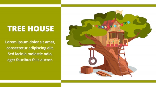 Tree house building on tree banner forest garden