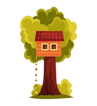 Дом на дереве. детская площадка с качелями и лестницей. плоский стиль векторные иллюстрации.