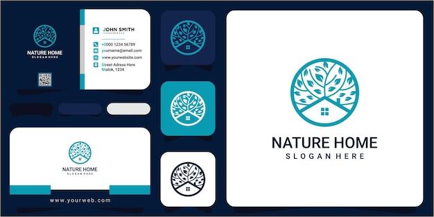 Дом на дереве иллюстрация вектора шаблон дом на дереве современная концепция дизайна логотипа с визитной карточкой