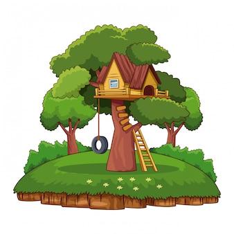 Tree house in park cartoon