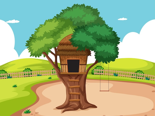Tree house in the park scene