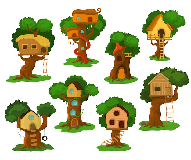 Tree house vector wooden playhouse building on oak tree for kids in garden or park