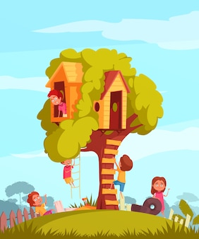 Tree house with joyful children during games illustration