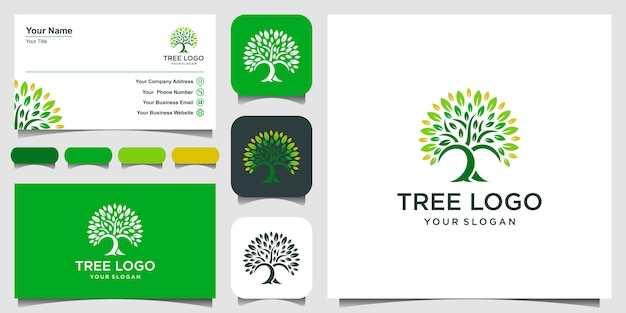 Значок дерева. элементы. шаблон логотипа green garden и визитная карточка