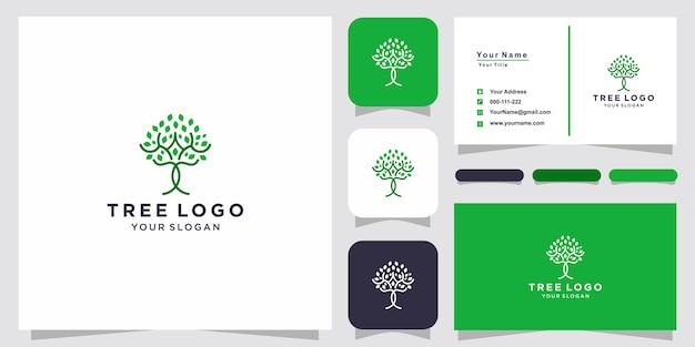 트리 아이콘입니다. 집단. 녹색 정원 로고 템플릿 및 명함