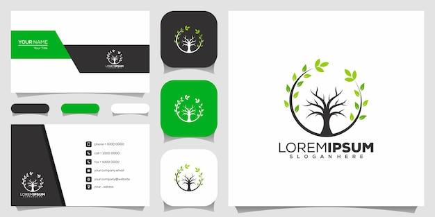 ツリーアイコン。要素。緑の庭のロゴのテンプレートと名刺
