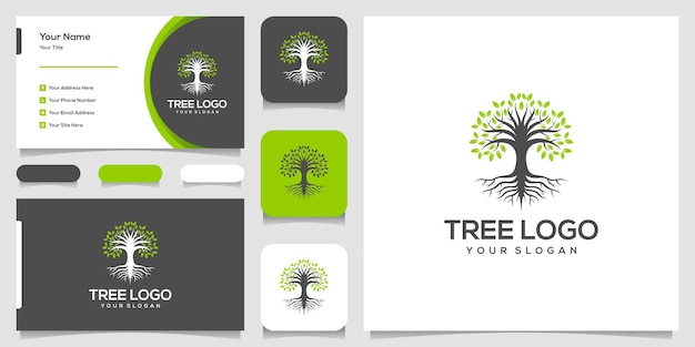 Tree icon. elements. green garden logo template and business card