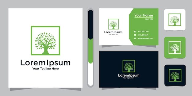 Tree icon. elements. green garden logo template and business card.