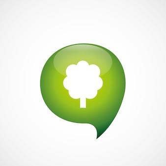 Зеленый значок дерева думаю логотип символ пузыря, изолированные на белом фоне
