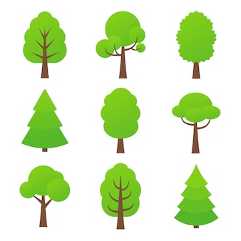 Tree icon.   illustration. nature green forest plants.