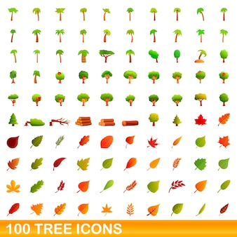 Tree icons set. cartoon illustration of  tree icons  set  on white background