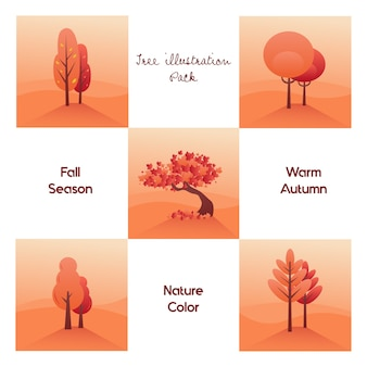 Tree illustration pack for autumn