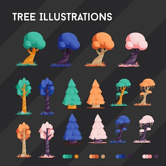 Tree illustrations 4 colors