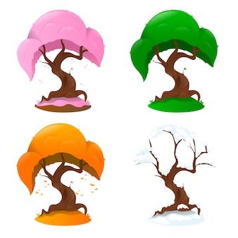 Дерево в четыре сезона на белом фоне