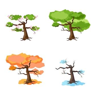 사계절의 나무 봄 여름 가을 겨울 흰색 배경에 고립 된 나무의 집합