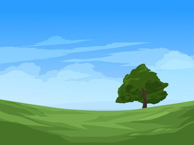Дерево в луг голубое небо пейзаж