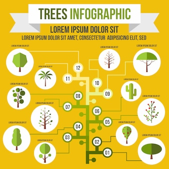 Tree infographic in flat style for any design