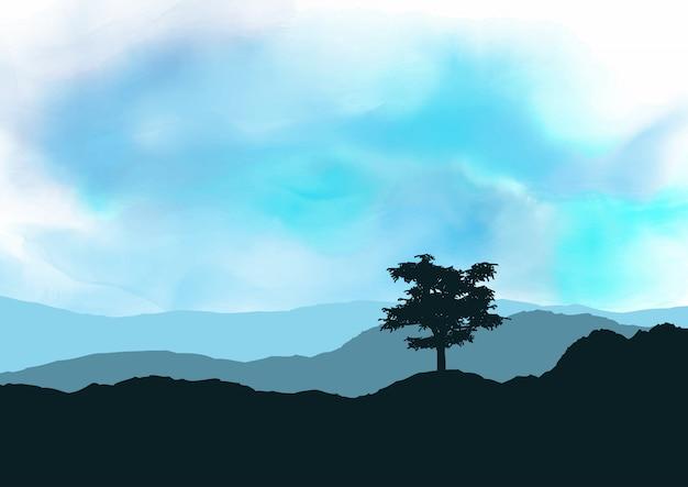 Tree landscape on watercolour texture