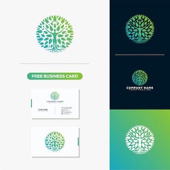 木の葉のクリエイティブなロゴと名刺デザイン