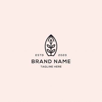 Tree leaf logo abstract linear style
