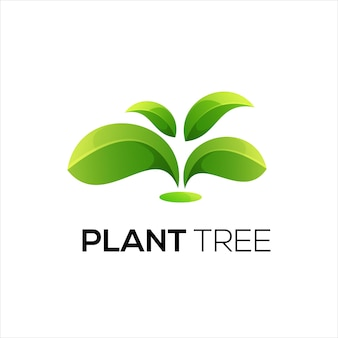 Tree leaf logo illustration gradient colorful