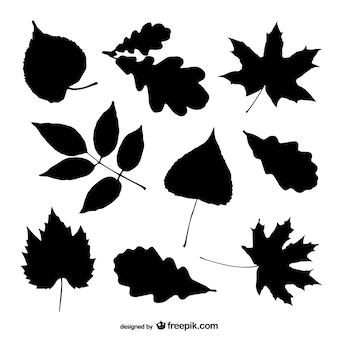 Tree leaves silhouettes set