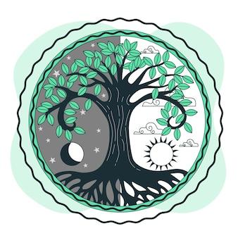 나무 생활 개념 그림