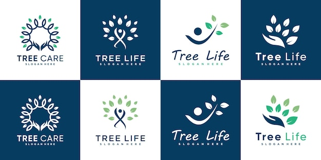 Tree life logo collection with modern human style premium vector