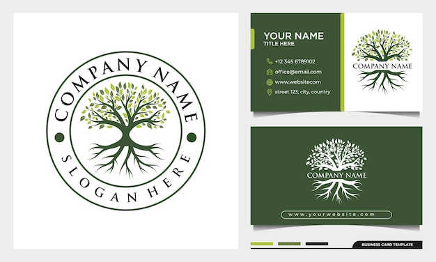 Tree of life logo design, badge nature tree illustration with business card template
