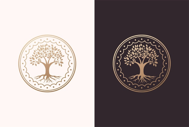Tree of life logo design in a circle frame element.