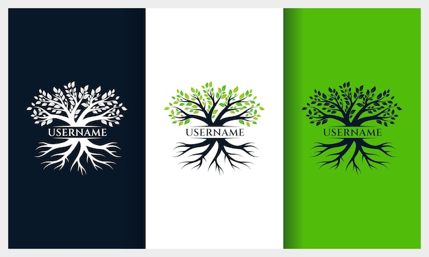 Tree of life logo design, nature tree illustration logo template