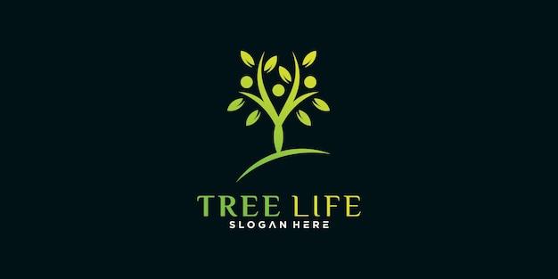 Шаблон дизайна логотипа tree life с уникальной концепцией premium векторы