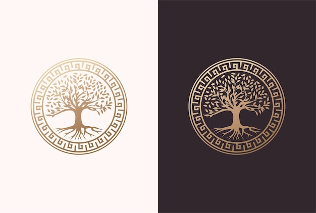 Tree of life logo design with circle greek element in a golden color.