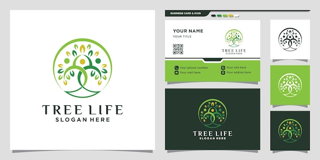 Tree life logo template with line art style and business card design premium vector