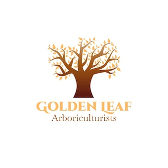 Tree life logo with golden leaves