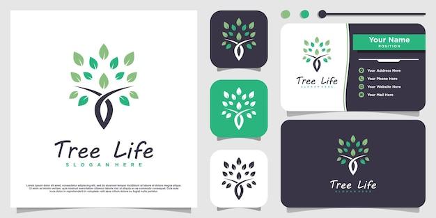 Tree life logo with modern concept premium vector