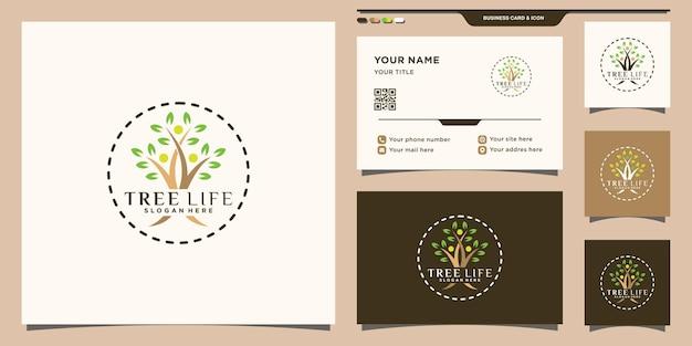 Логотип tree life с уникальной современной концепцией и дизайном визитной карточки premium векторы