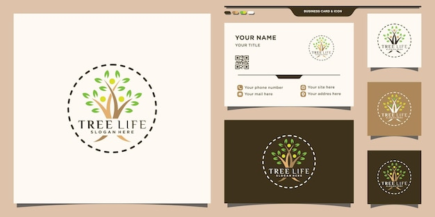 Tree life logo with unique modern concept and business card design premium vector