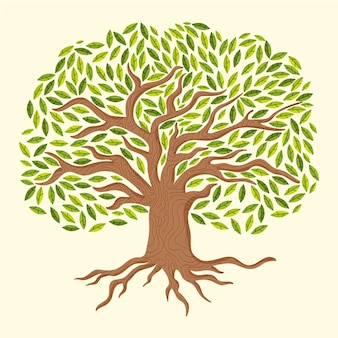Tree life with gradient green leaves hand drawn