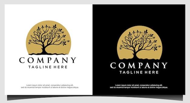Tree life with moon or sun logo design vector