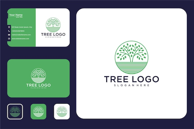Tree line art circle logo design and business card