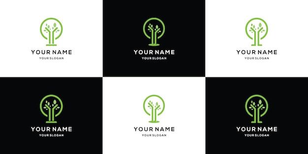 나무 라인 아트 원형 로고 디자인