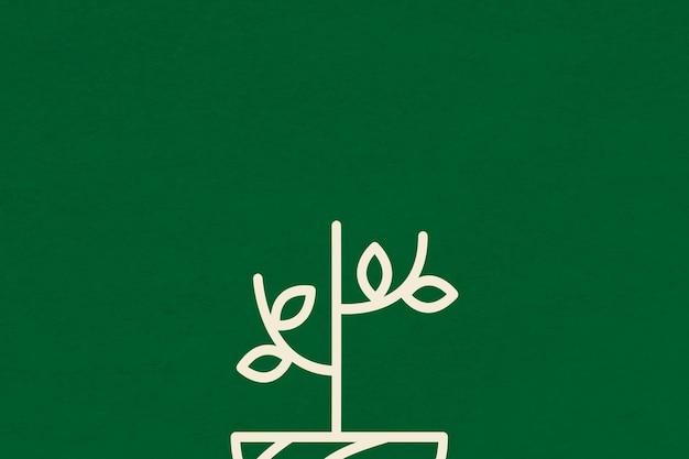 Дерево линии зеленый фон вектор