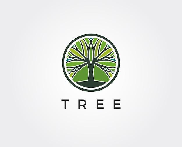 Дерево логотип абстрактный дизайн вектор шаблон