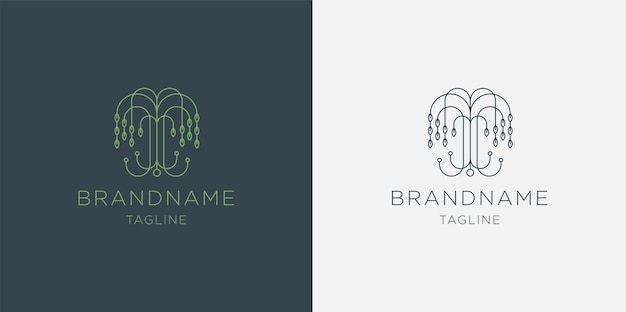 Tree logo abstract linear style icon