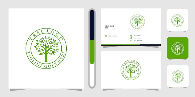ツリーのロゴと名刺。緑豊かな庭園のロゴのテンプレート