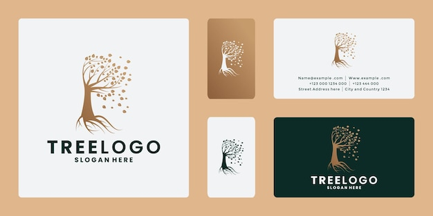 Tree logo design business card with golden color