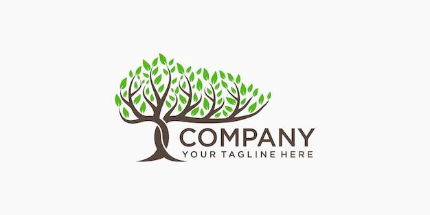 Tree logo design elements. green garden vector logo template and business card design Premium Vector