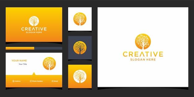 Дизайн логотипа дерева с шаблоном визитной карточки