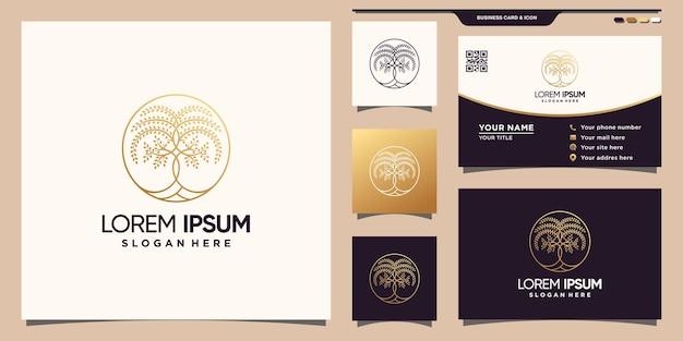 Дизайн логотипа дерева с линейным стилем и концепцией круга. значок шаблона логотипа и дизайн визитной карточки premium векторы